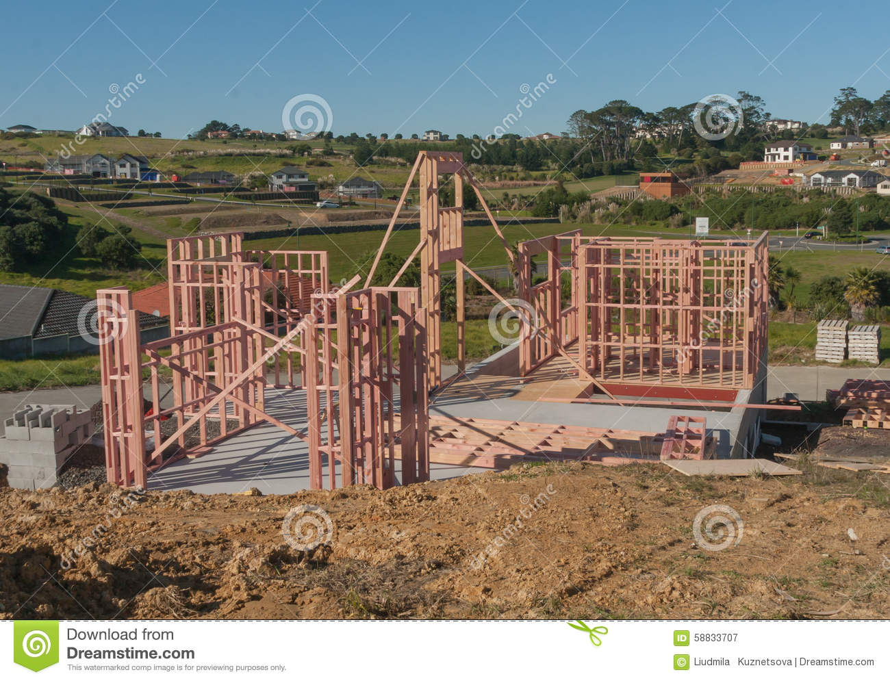 construction of new home building auckland new zealand stock image