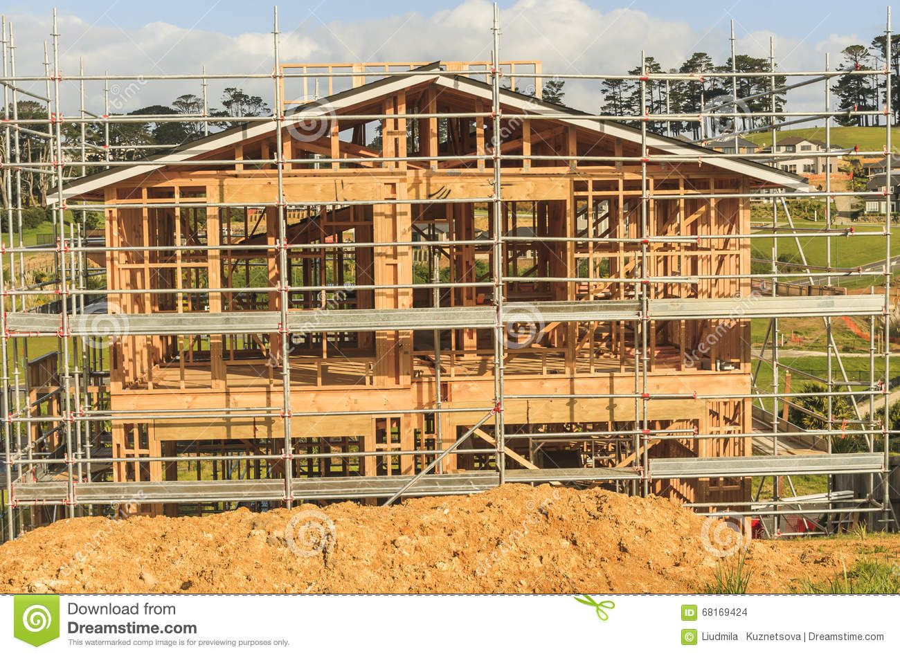 construction of new home building in new zealand auckland stock