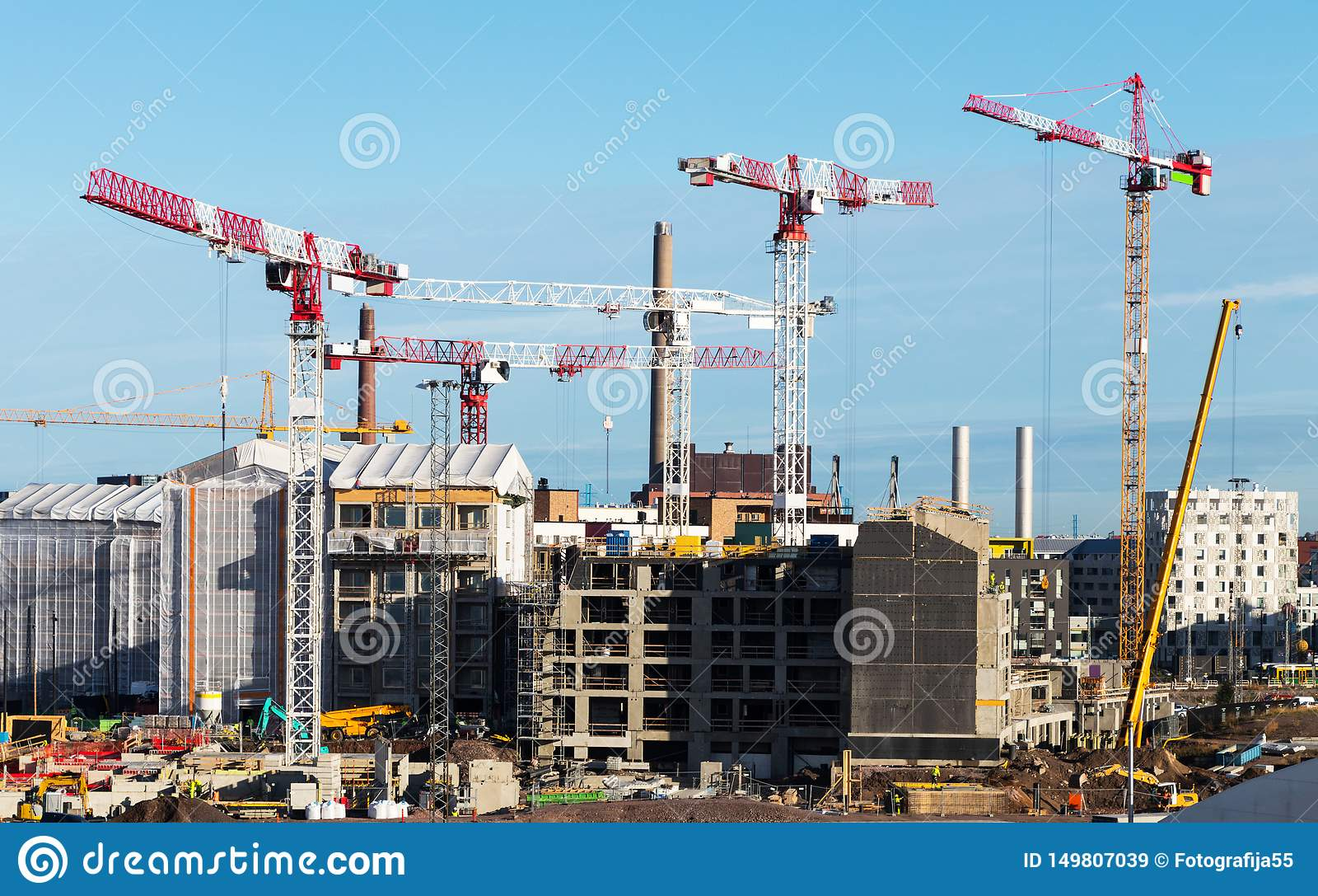 Construction of new modern residential micro-district