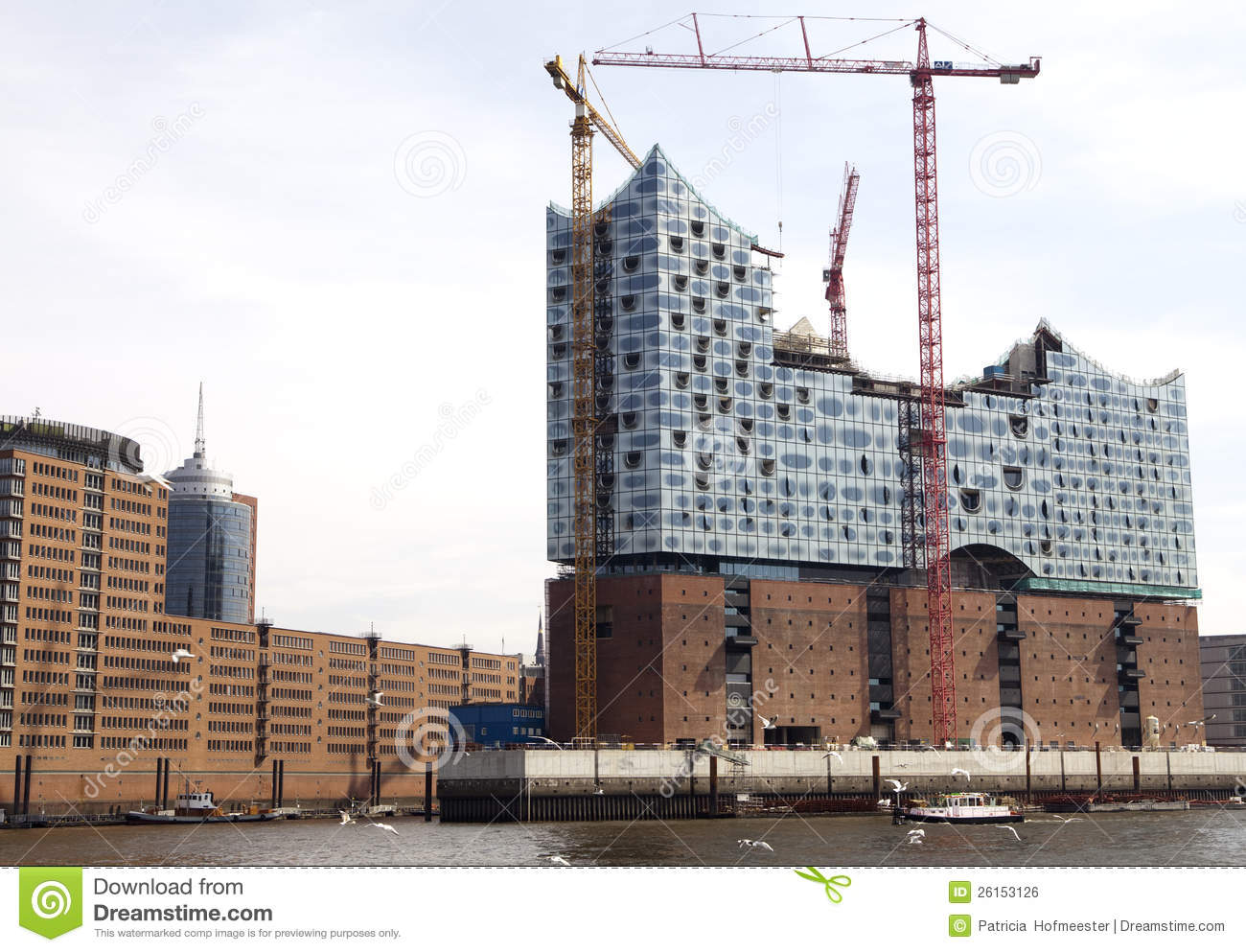 Construction Of New Opera House In Hamburg Royalty Free