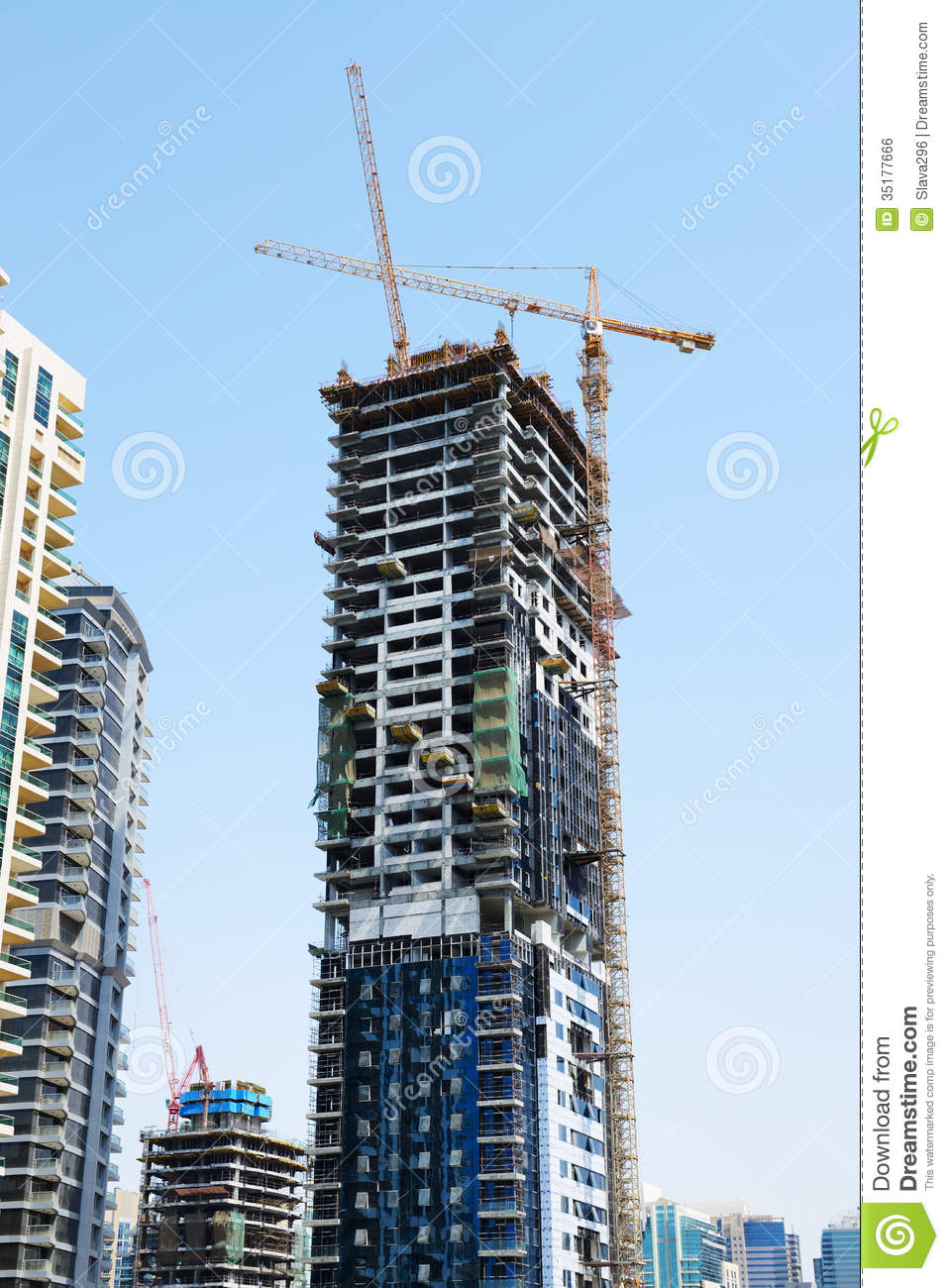 The Construction Of New Skyscraper In Dubai City Editorial