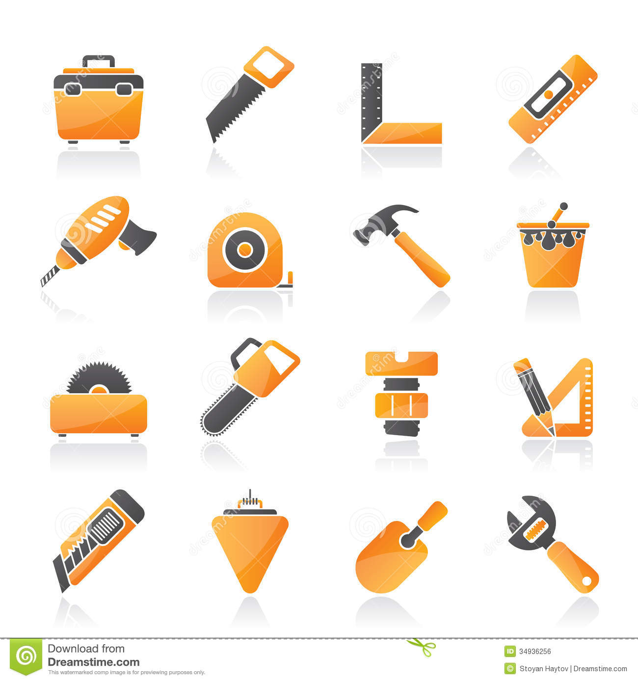 Construction Objects And Tools Icons Stock Vector ...