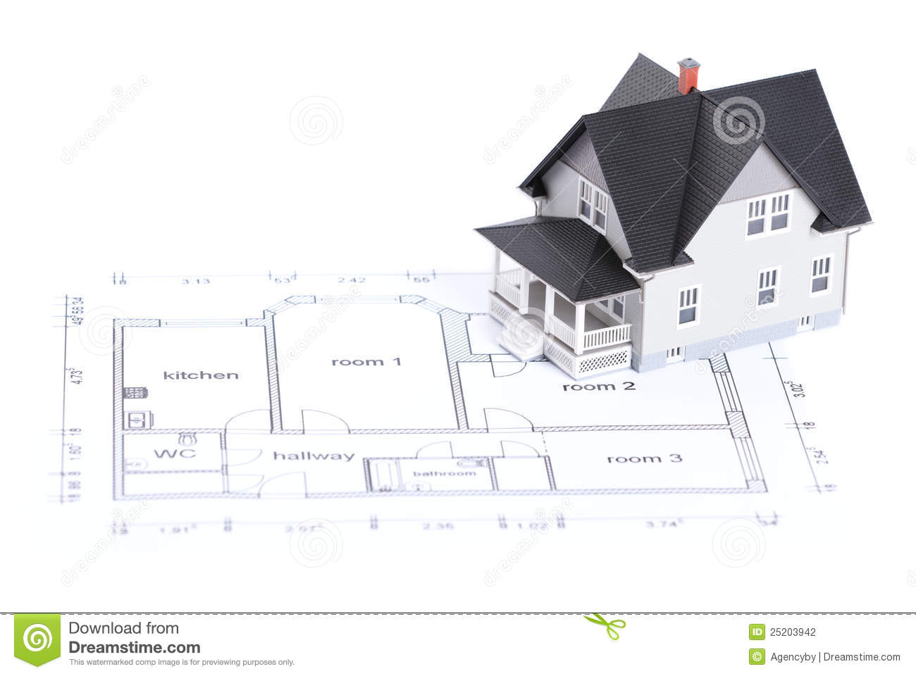 Construction Plan With House And Wood d Stock Photo   Image  Construction plan   house model Stock Photography