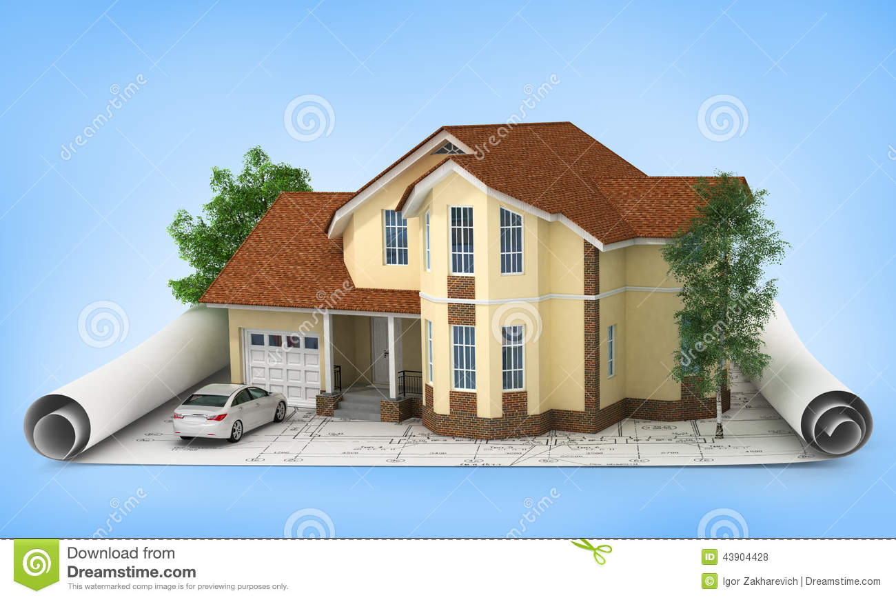 Perfect Construction Plan With House And Wood 3d. Royalty Free Stock Photo