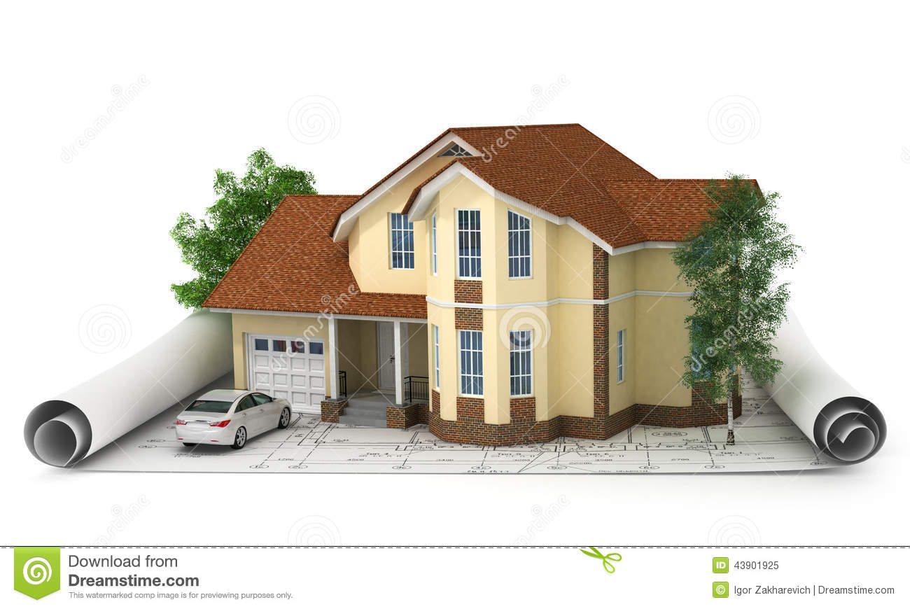 Construction Plan With House And Wood 3d Stock Image