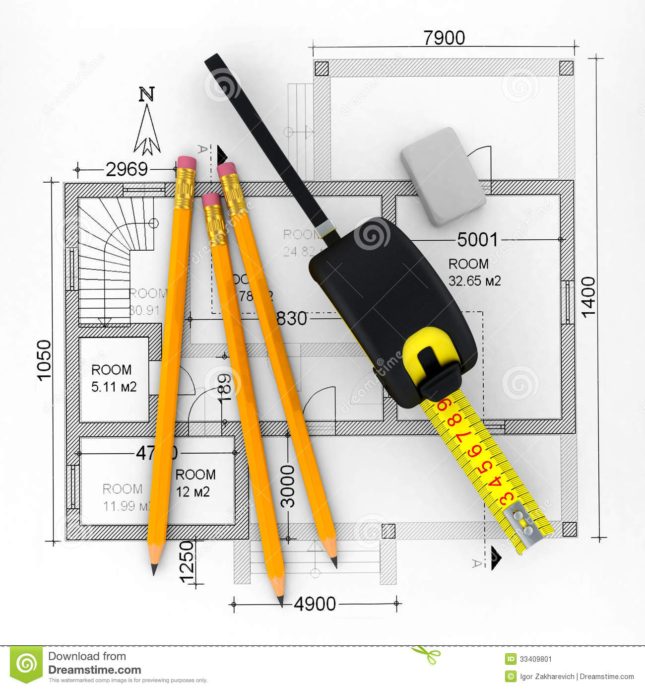 Construction plan in roll with scale stock illustration for Plan construction