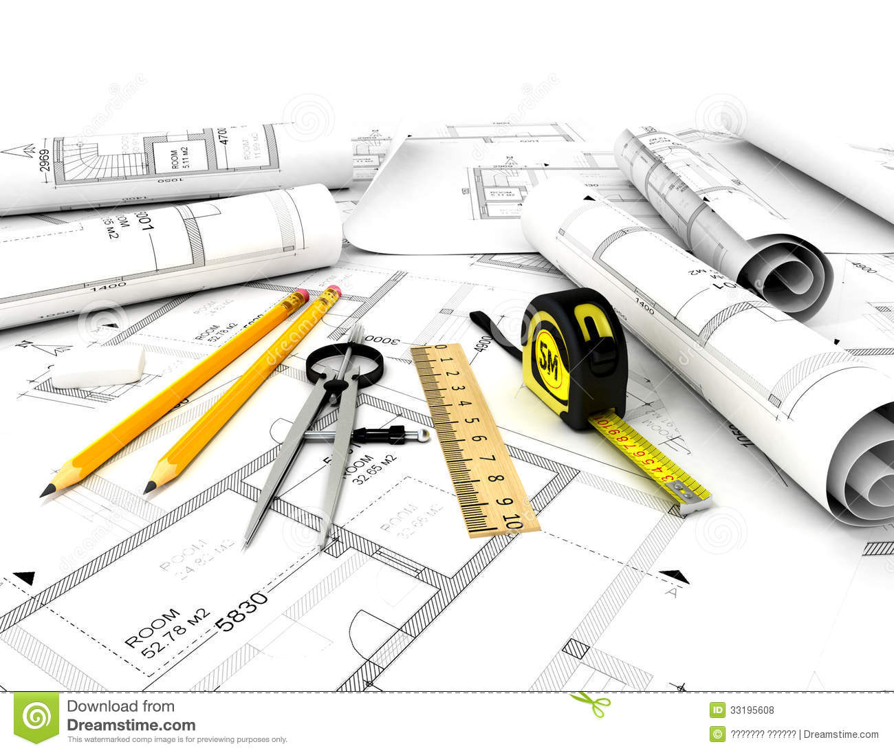 Construction Plan With Scale And Pencil Royalty Free Stock