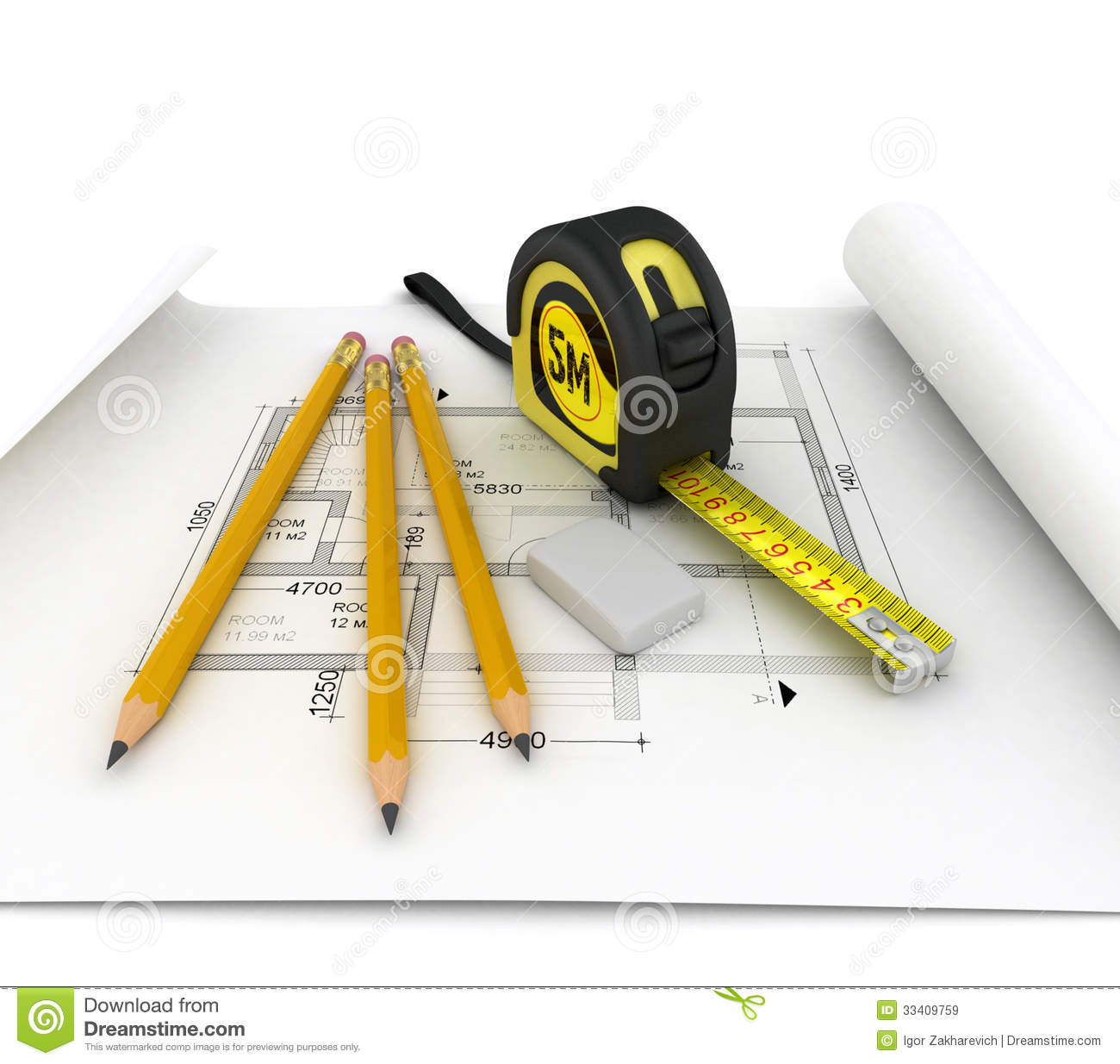 Construction Plan With Scale And Pencil Stock Illustration