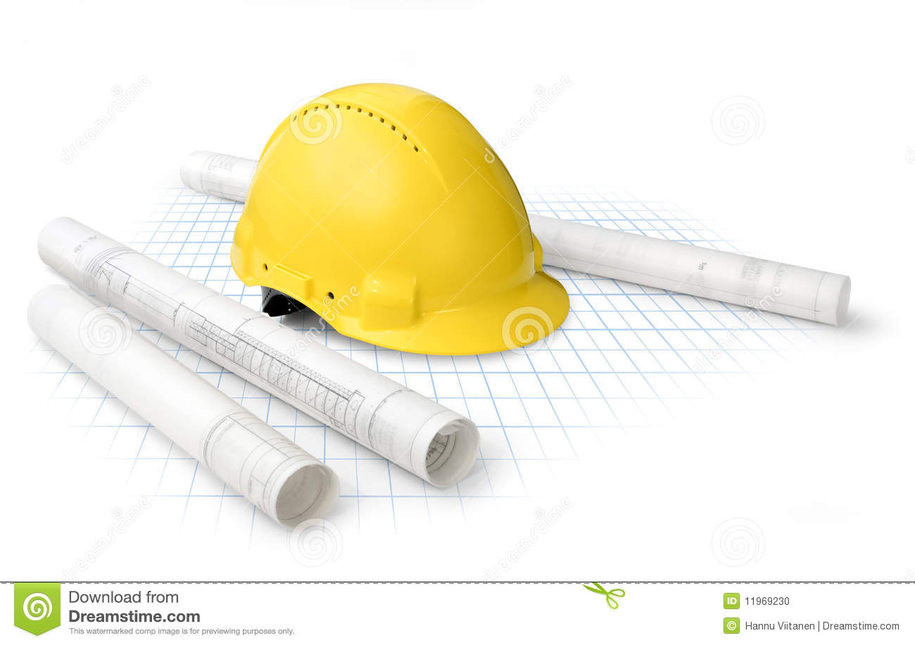 Construction drawing blueprints and yellow hard hat isolated.