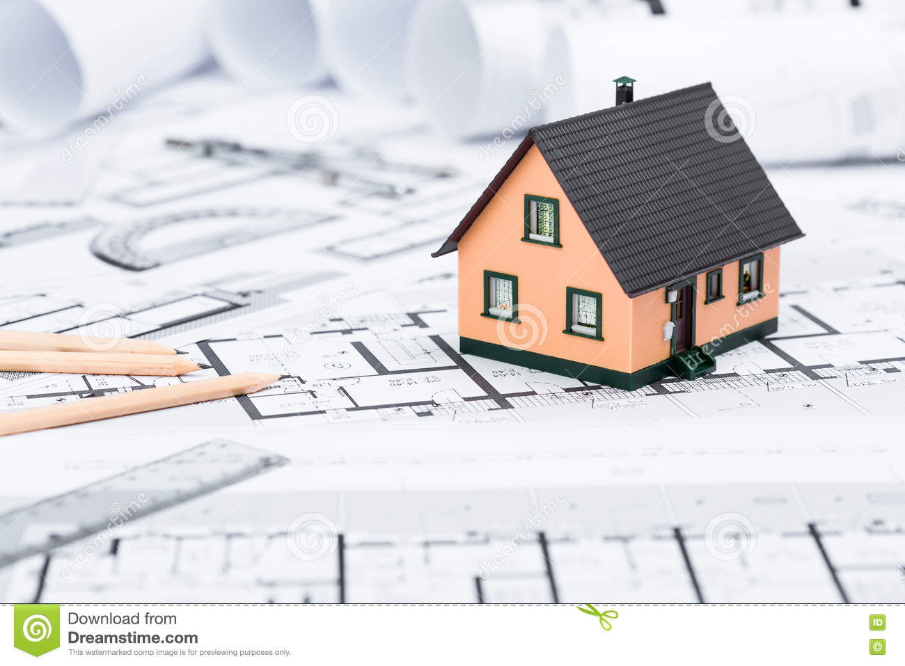 Construction plans with drawing tools and house miniature on blu stock image image of for Concept home architecture and engineering