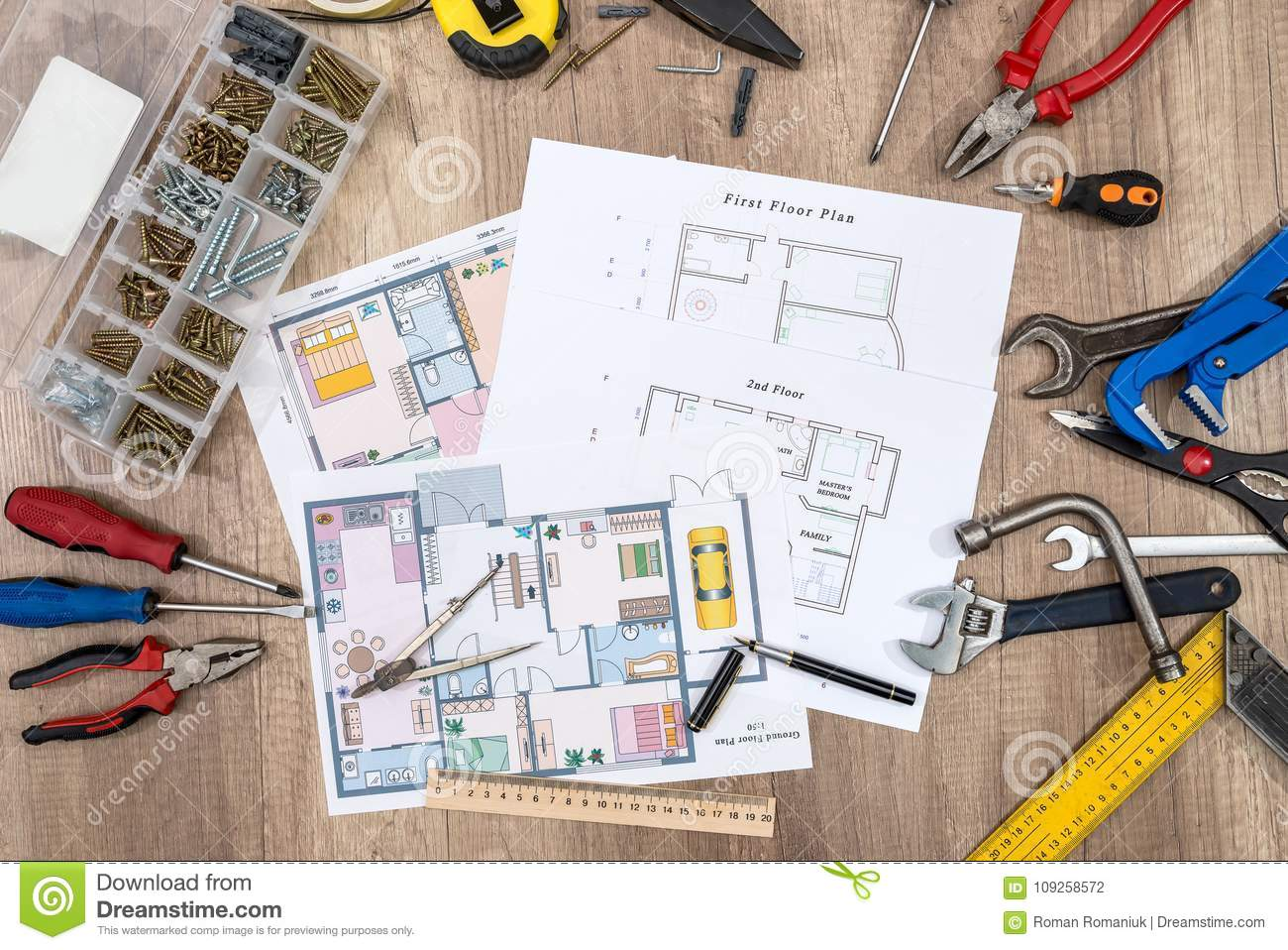 Charming Download Construction Plans With Drawing Tools Stock Photo   Image Of  Apartment, Architectural: 109258572