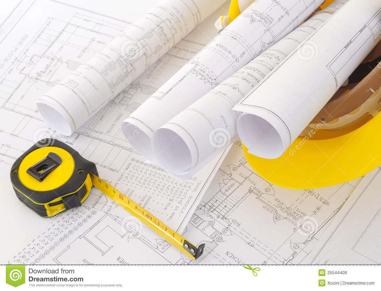 Construction Plans In Helmet Stock Image