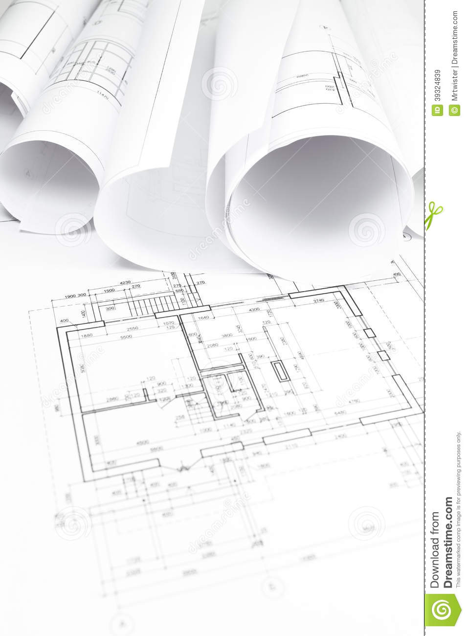 Construction plans in rolls stock image image 39324839 for Architecture design blueprint