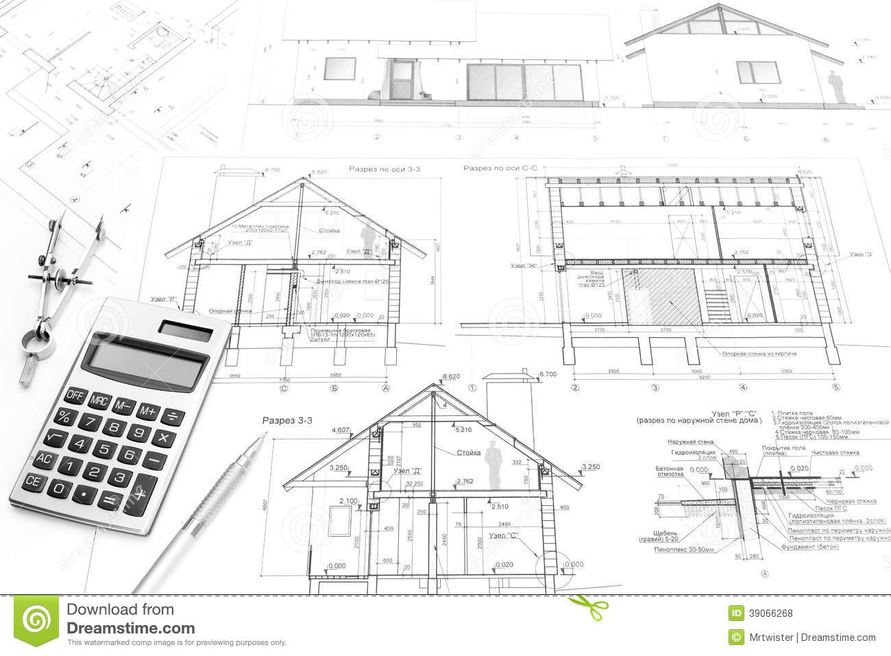 Construction plans and tools stock photo image 39066268 for Construction plan drawing