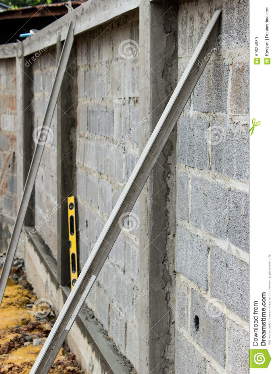 Plaster Wall Construction : Construction plaster tool stock photo image