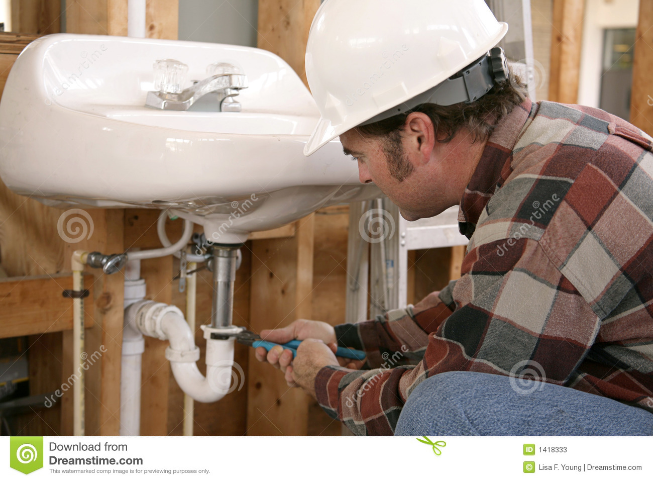 Construction Plumbing Work Stock Image Image Of Education
