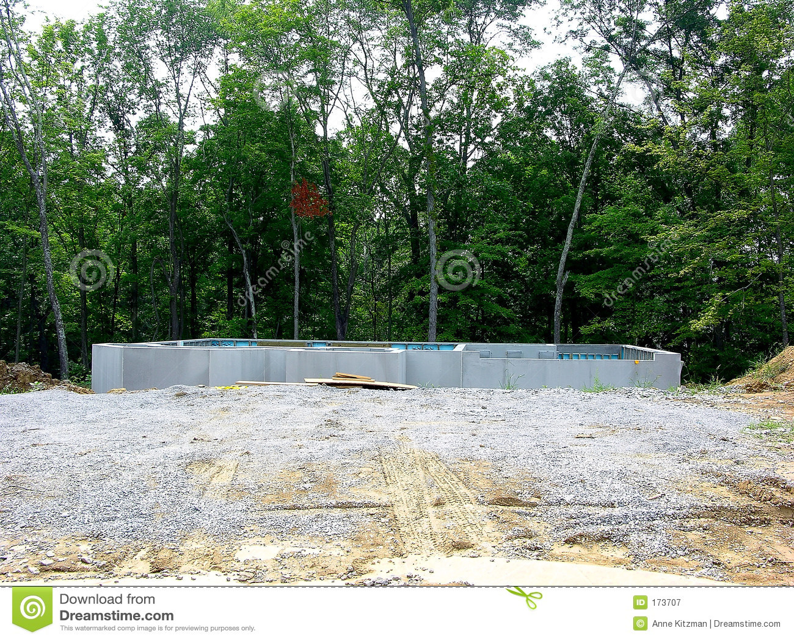 Construction poured concrete foundation stock image for Concrete basement construction
