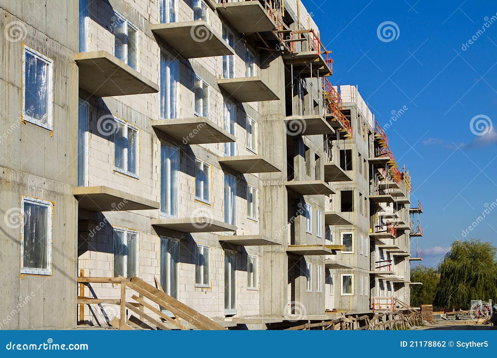Construction in progress. Concrete raw apartment.