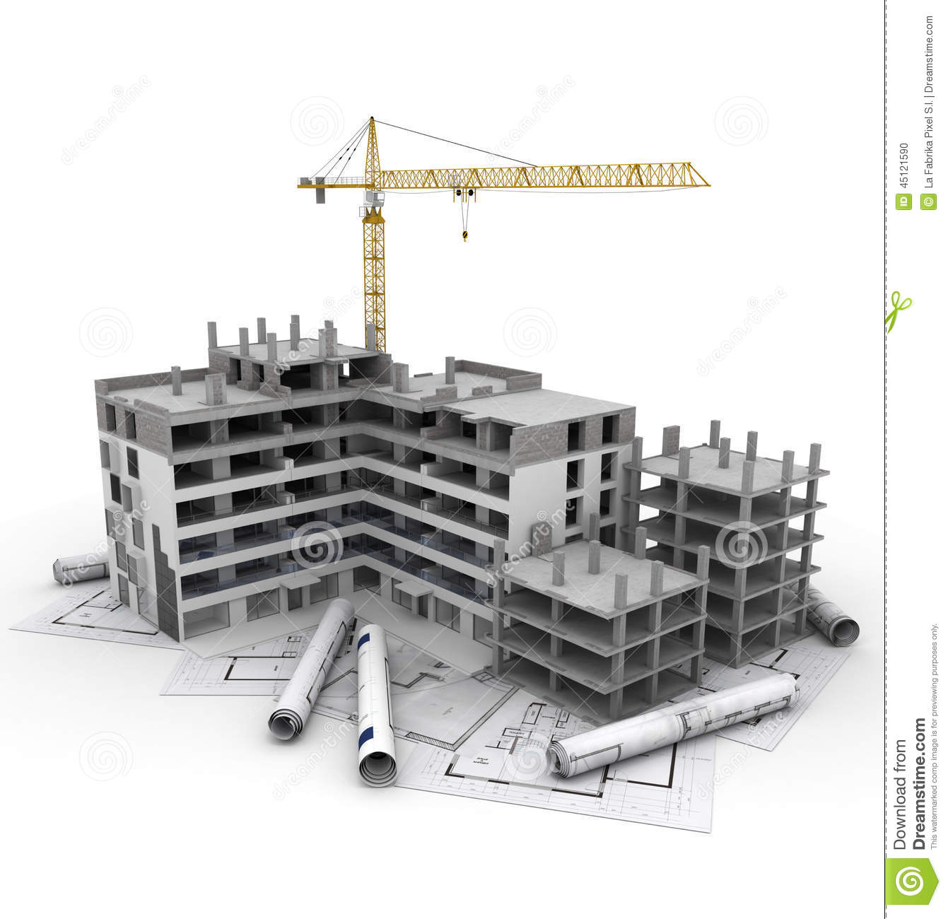 Construction project in progress stock illustration for Blueprint of building plan