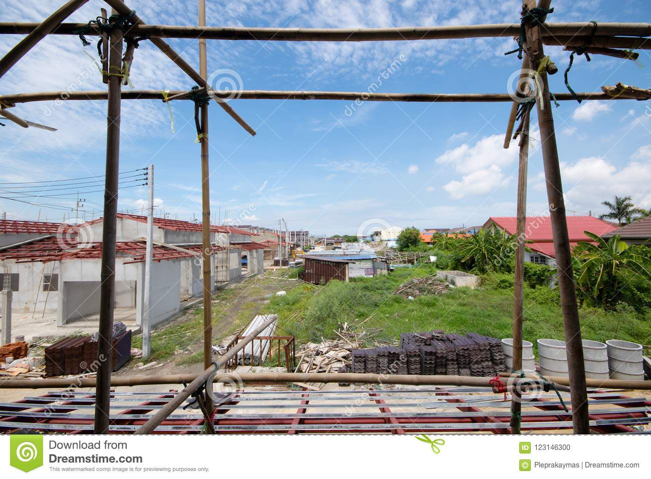 Construction Residential New House In Progress Stock Photo Image Wiring Materials Download Of Housing