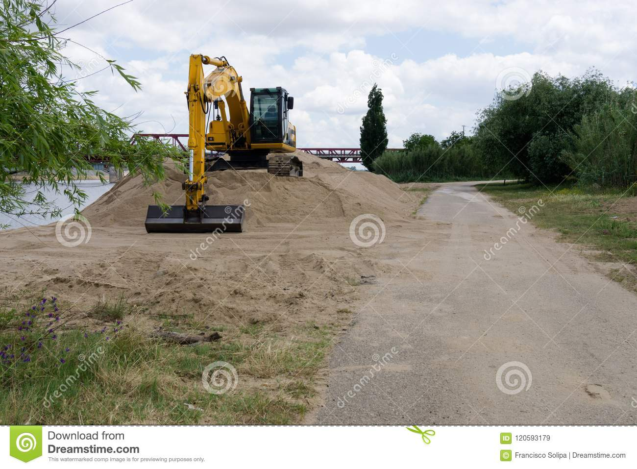 Construction of a road. Earth movement.