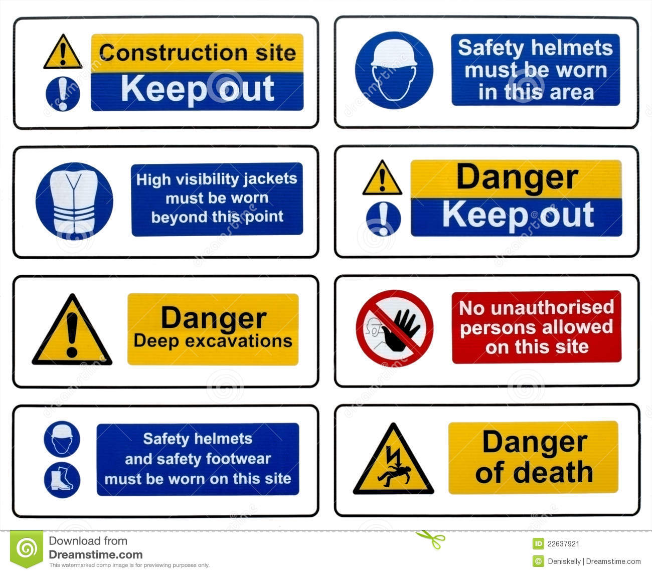 Construction Health Safety Danger Warning Signs Stock Image Image
