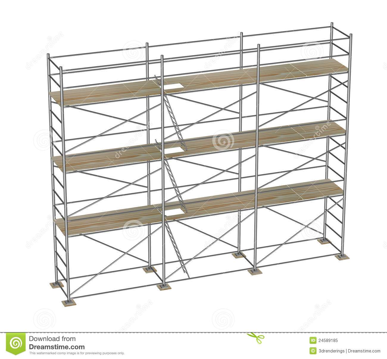 Construction Scaffolding 3 Floors Royalty Free Stock