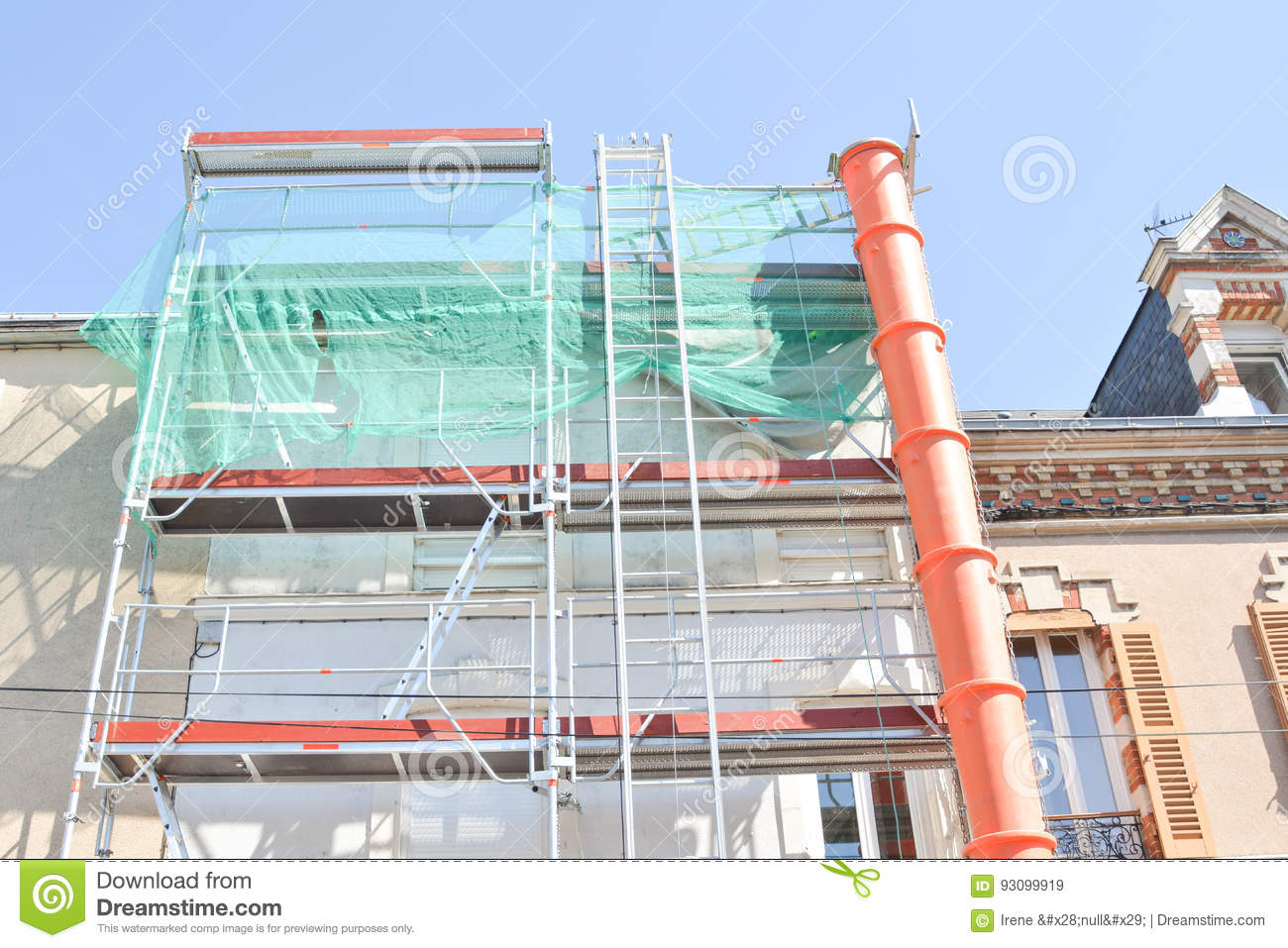 Construction scaffolding of a building Renovation.