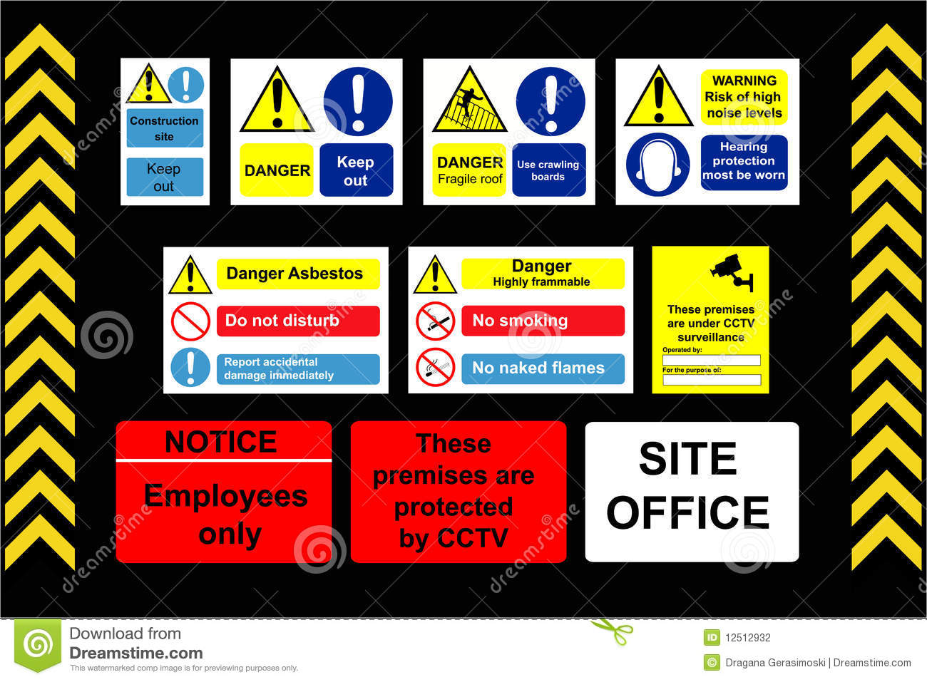 construction signs building site stock vector