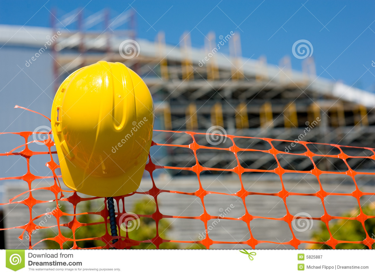 construction site with a protective helmet or head gear with the ...