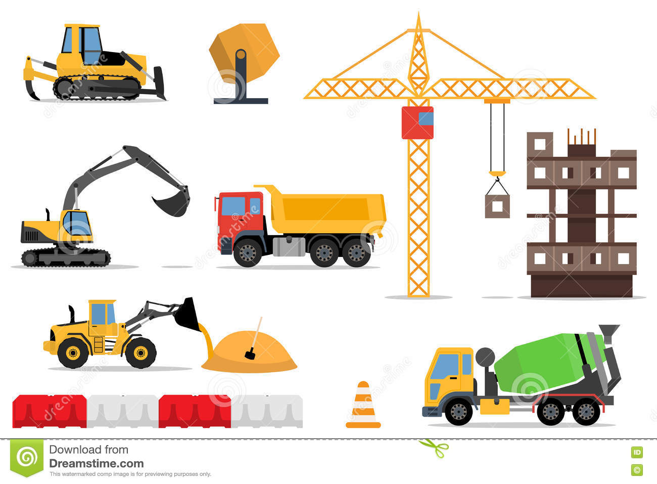 Construction Site Building A House Vector Flat