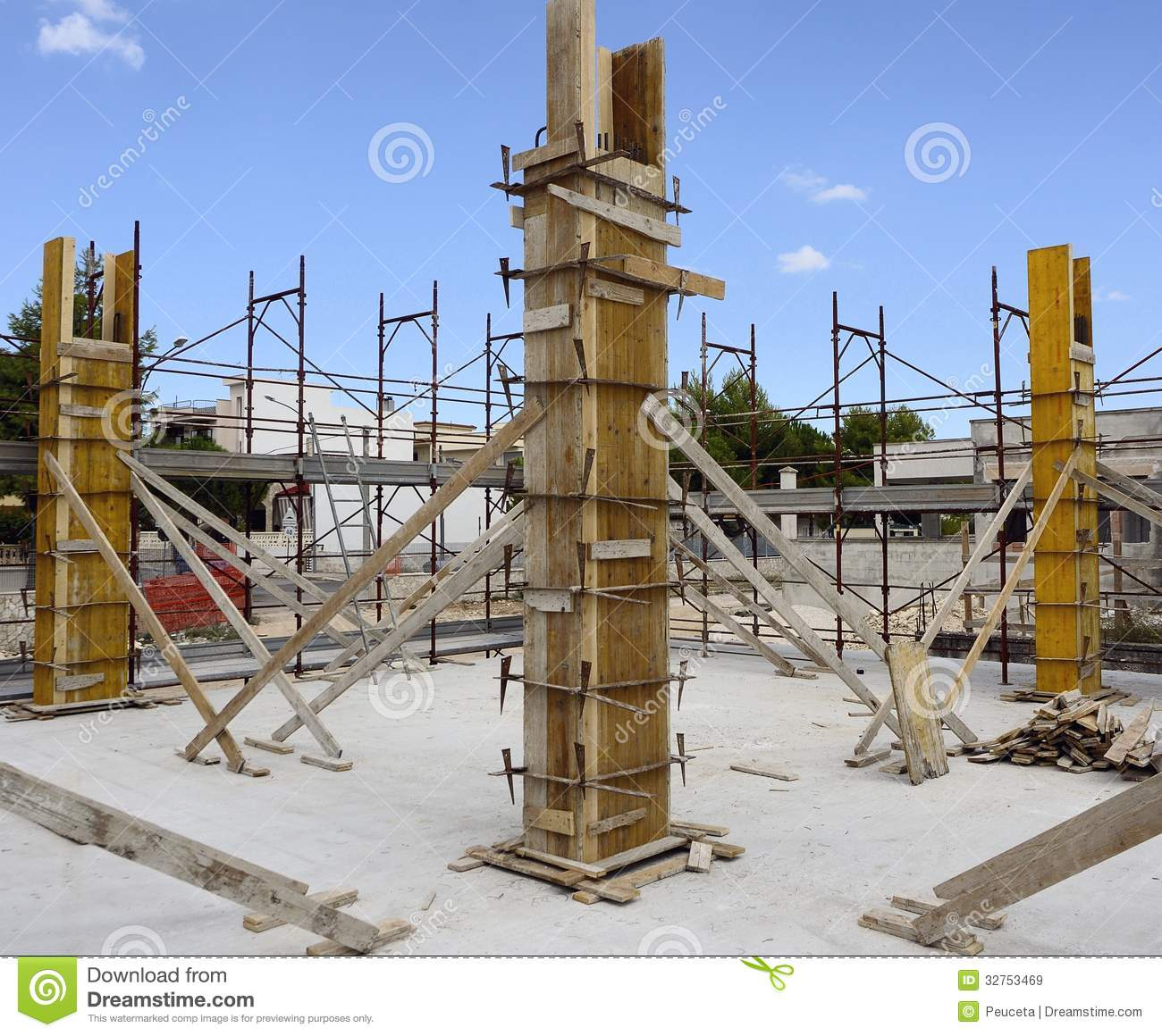 construction site carpentry concrete structure formwork for pi stock image image of. Black Bedroom Furniture Sets. Home Design Ideas