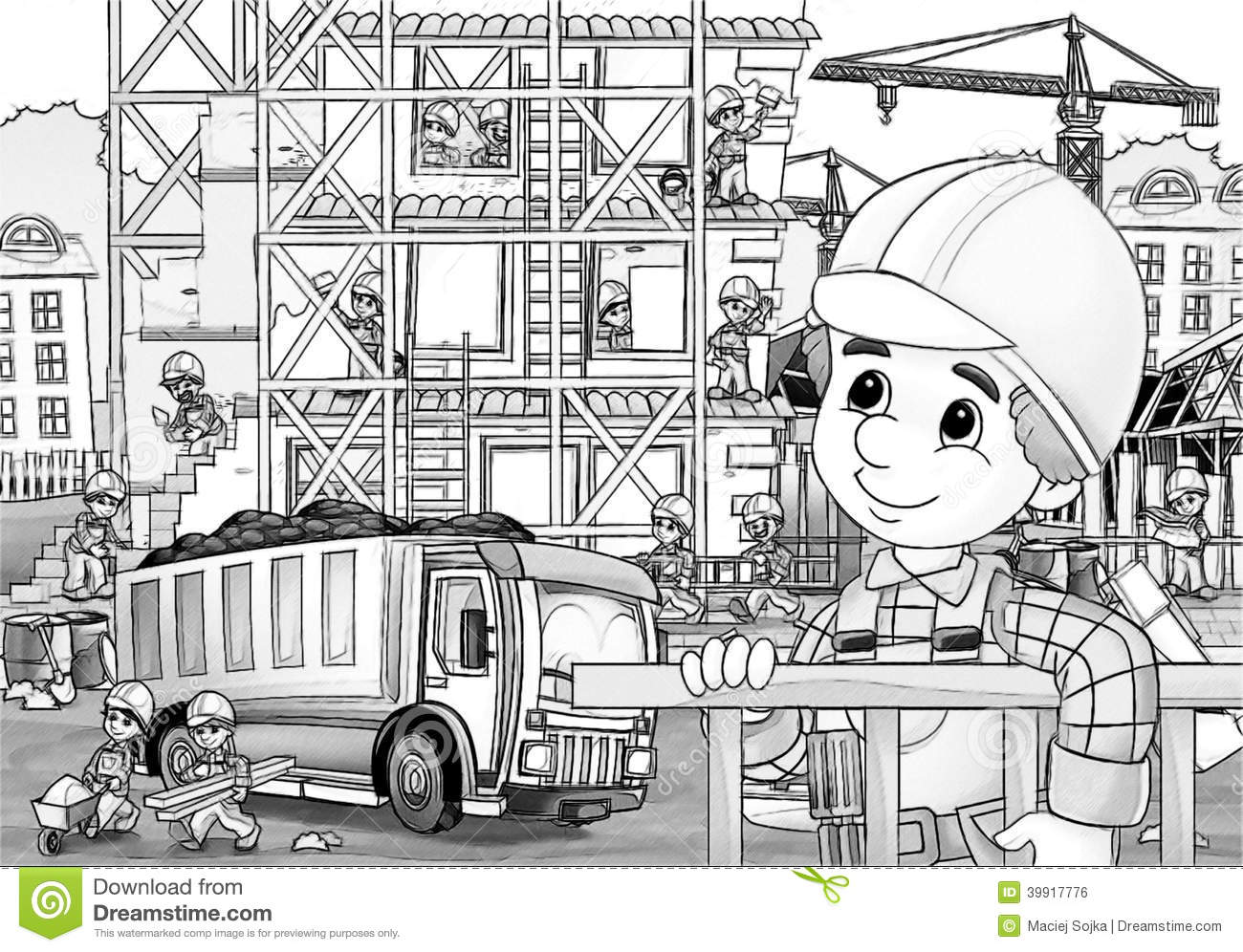 construction site coloring pages Construction Site   Coloring Page Stock Illustration  construction site coloring pages