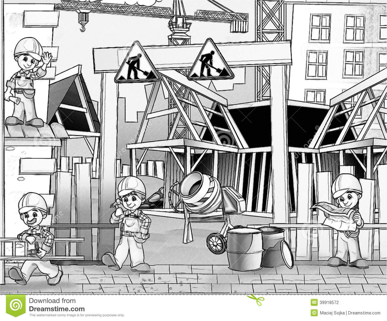 construction site coloring page stock illustration image 39918572