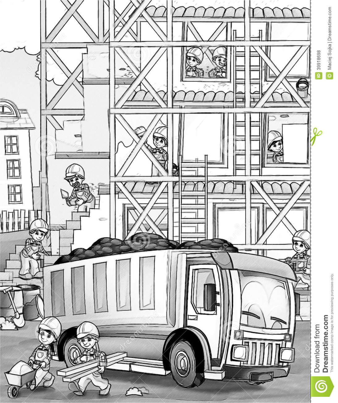 construction site coloring page stock illustration image 39918698