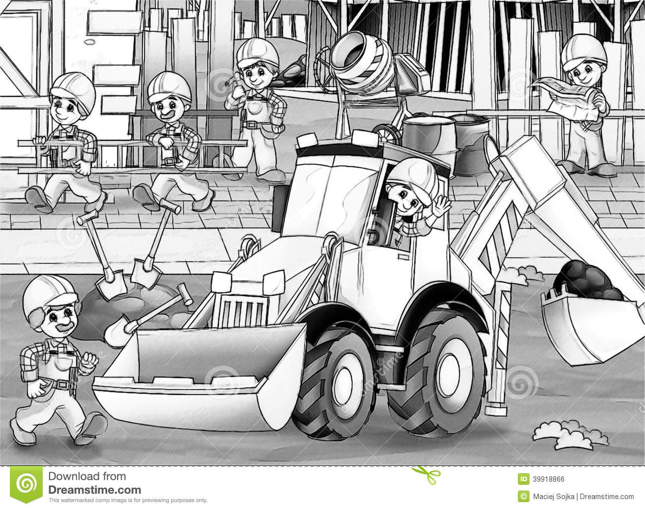 construction site coloring page stock illustration image 39918866