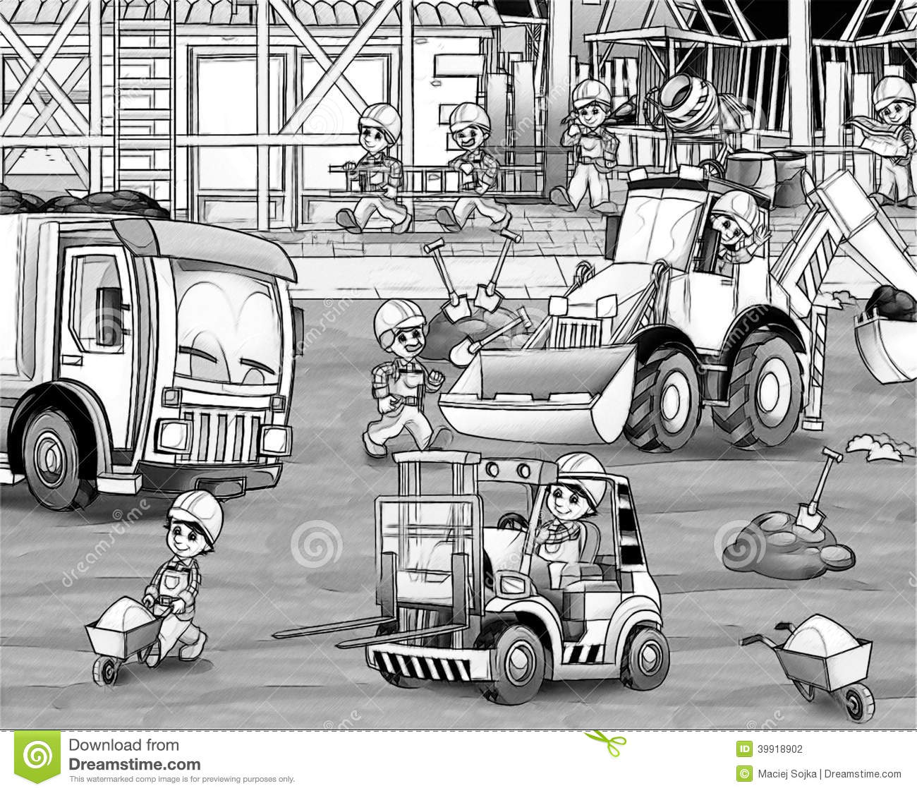 construction site coloring page stock illustration image 39918902