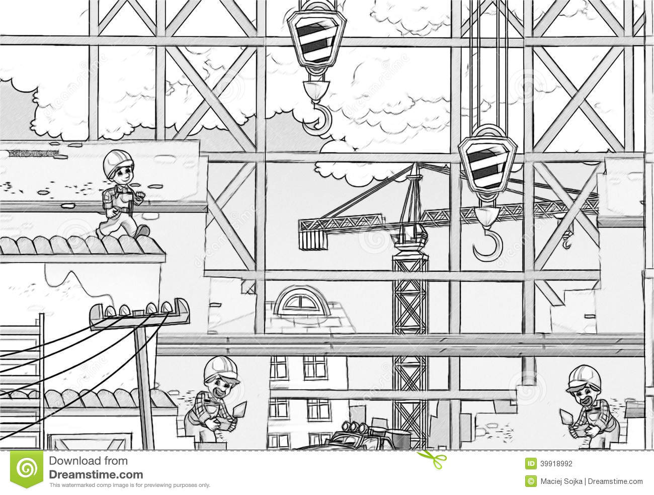 Construction Site Coloring Page Stock Illustration