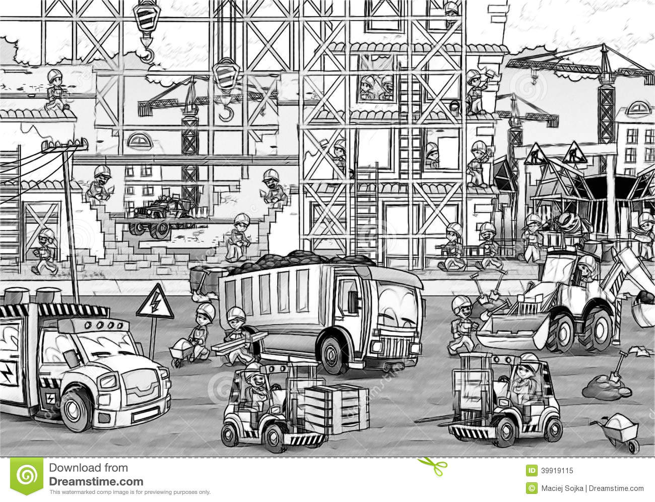 Printable Coloring Websites : Construction site coloring page with preview stock