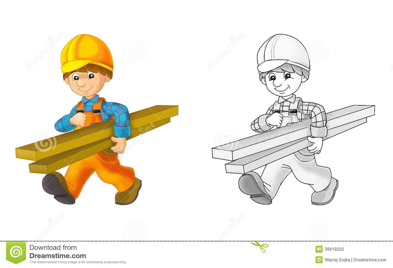 Construction site - coloring page with preview