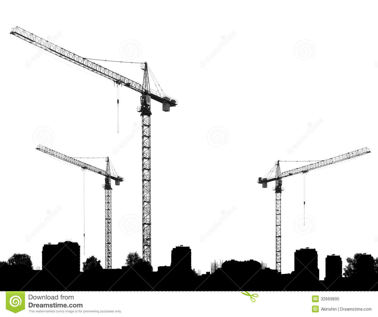 Black And White Building Construction : Construction site with cranes and silhouettes buildings