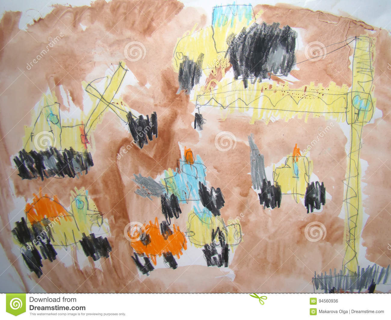 Construction site - drawn by child