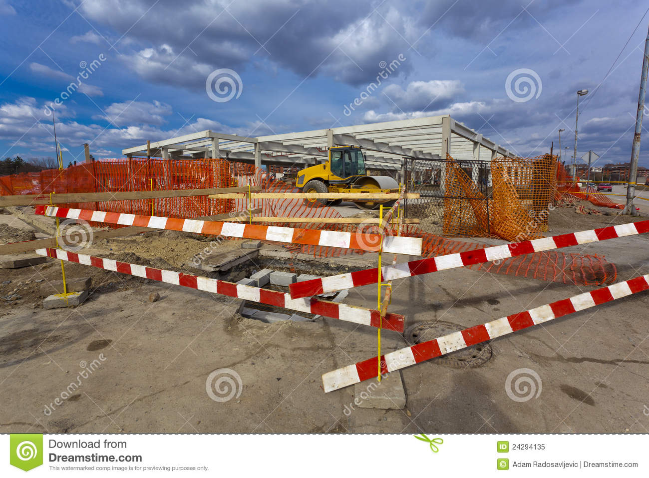 More similar stock images of construction site with fence barrier