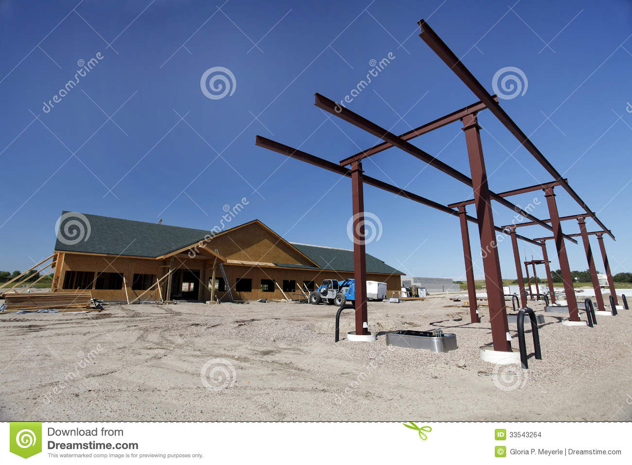 Convenience Store Construction : Construction site of gas station stock photo image