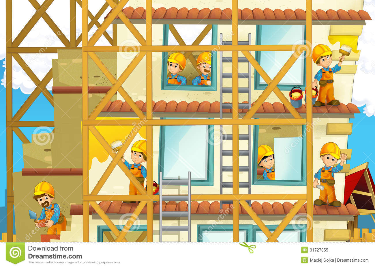 On the construction site illustration for the children for How to read construction site plans