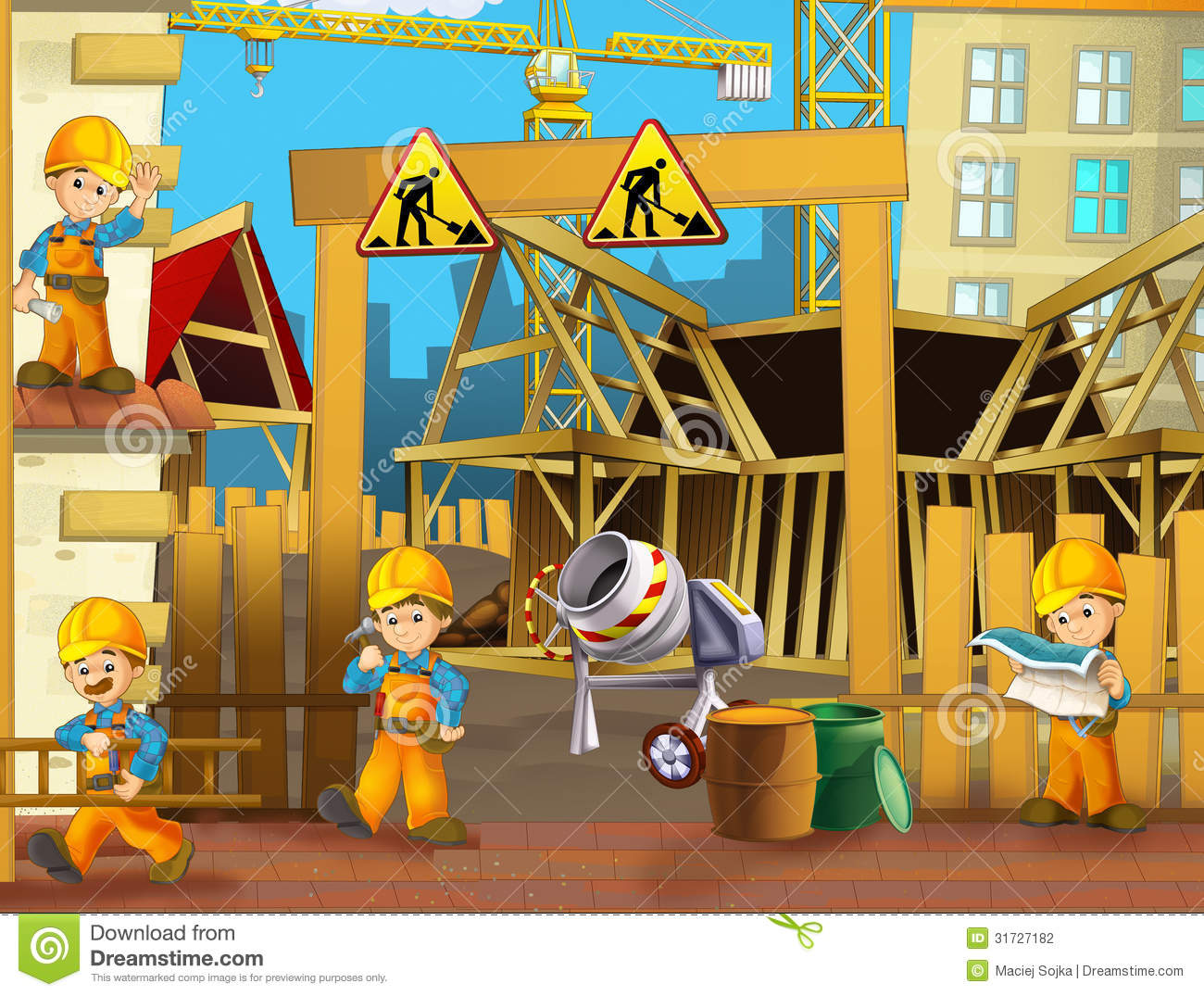Stock Photography: On the construction site - illustration for the ...