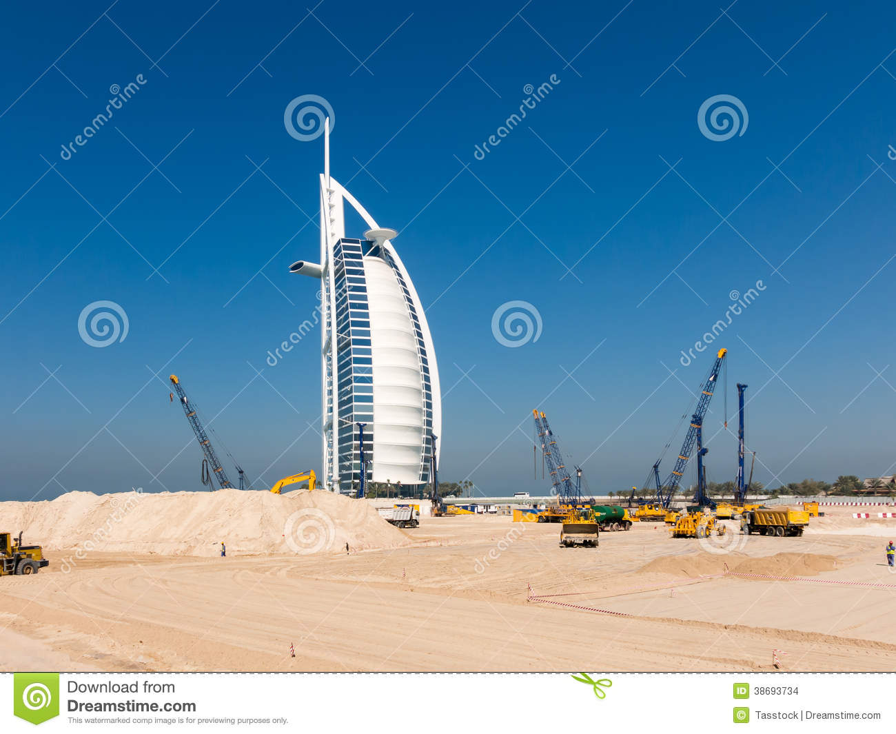 Under construction site jumeirah beach in dubai editorial for Nearest hotel to dubai design district