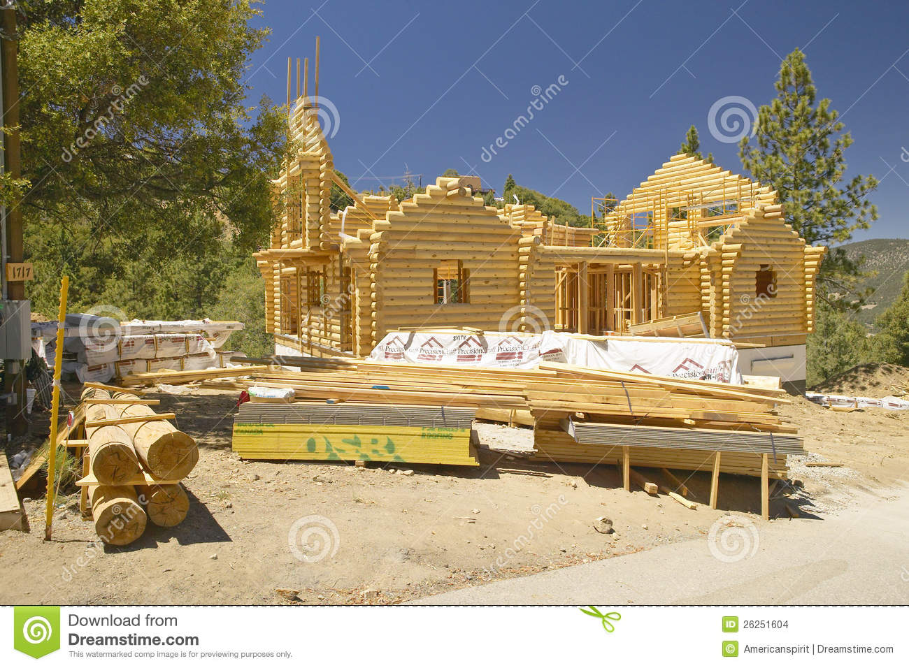 Construction Site Of Log Cabin Editorial Stock Image