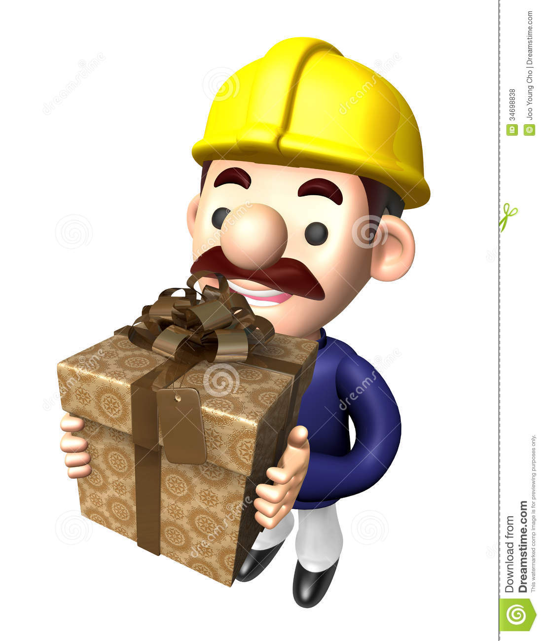 Construction site man holding a big gift box royalty free for Character designer job