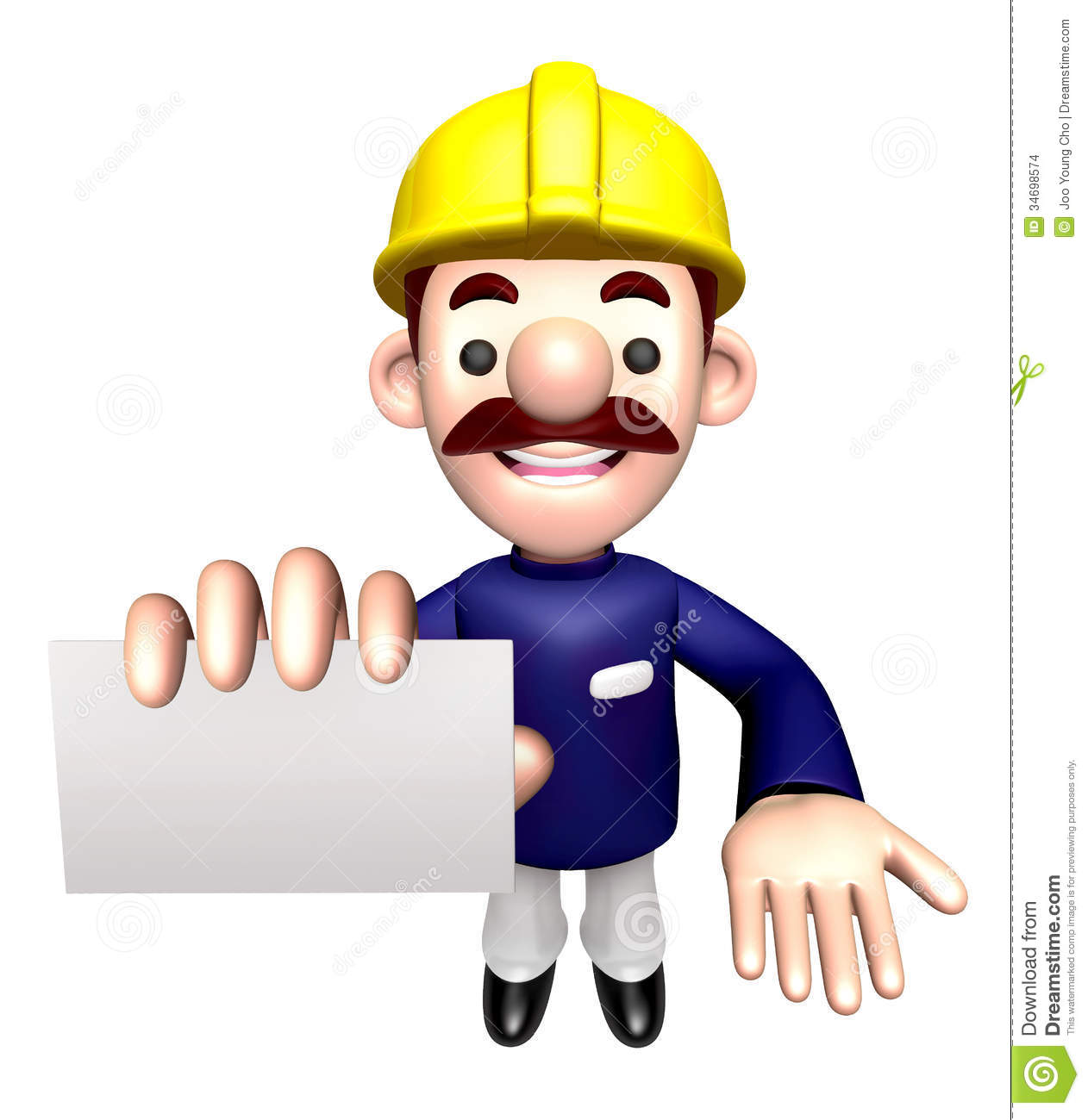 Character Design Job Offer : Construction site man showing a business card stock images